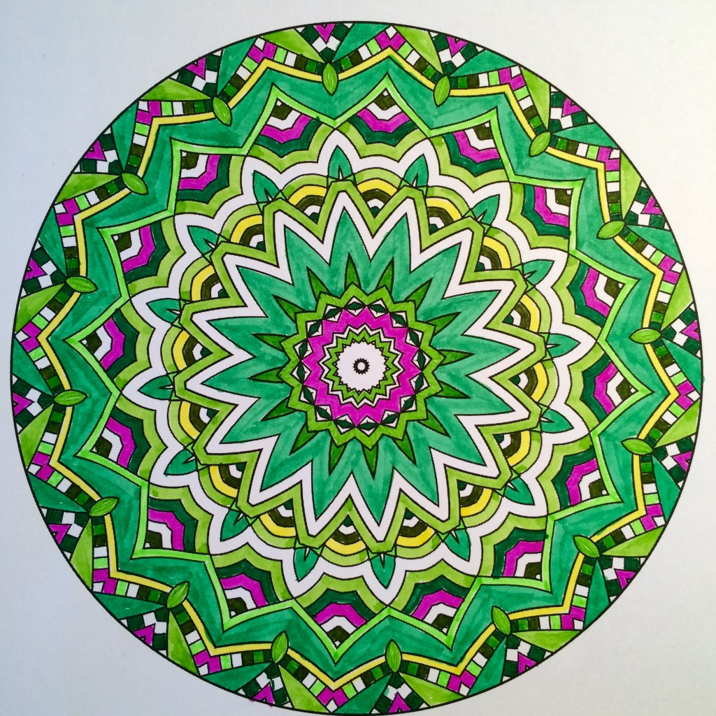 My completed colored mandala from Coloring to Calm Vol. 1