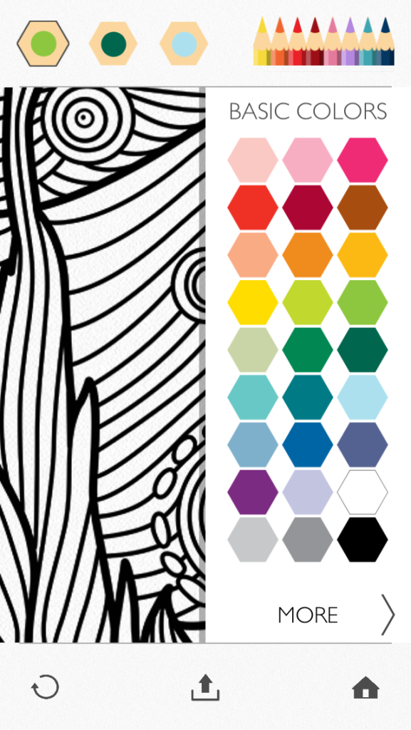 Screenshot - the standard Colorfy color palette