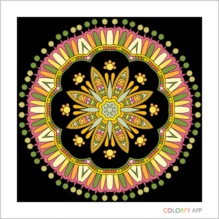 The same Mandala design, with two areas changed to black
