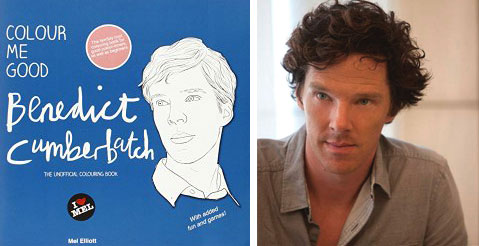 "Cover of the Color Me Good Benedict Cumberbatch coloring book, alongside the man himself (photo credit: <a href=""https://www.flickr.com/photos/9850/9138436150/"" target=""_blank"">touchedmuch on Flickr</a> under <a href=""https://creativecommons.org/licenses/by/2.0/legalcode"" target=""_blank"">CC BY 2.0</a>)"