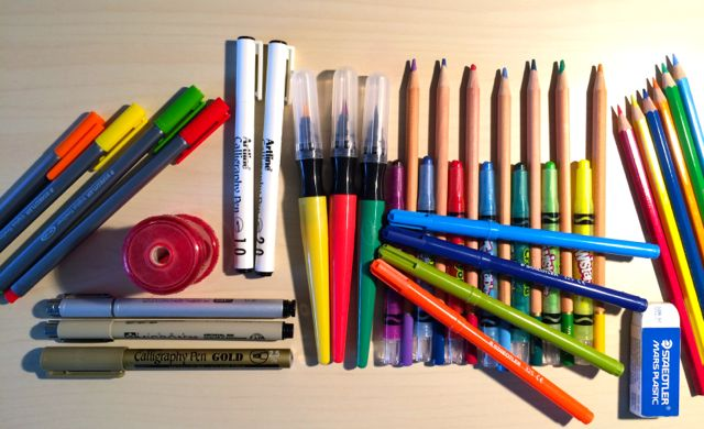 A selection of coloring pencils, crayons, markers and pens